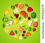 fruit festival   fruit elements ... | Shutterstock .eps vector #492502279