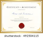 certificate template for... | Shutterstock .eps vector #492504115
