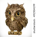 owl. night bird. funny animal.... | Shutterstock .eps vector #492504199