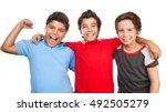 portrait of a three happy boys... | Shutterstock . vector #492505279