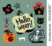 halloween graveyard vector... | Shutterstock .eps vector #492508387