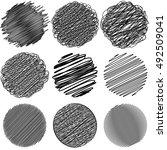 set of doodle circles irregular ... | Shutterstock .eps vector #492509041