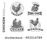 set chicken logo  design emblem ... | Shutterstock .eps vector #492514789