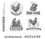 Set Chicken Emblem On White...