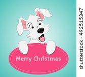 merry christmas. puppy. | Shutterstock .eps vector #492515347