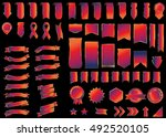 ribbon red vector icon on black ... | Shutterstock .eps vector #492520105