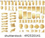 ribbon gold vector icon on... | Shutterstock .eps vector #492520141