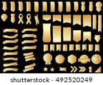 ribbon gold vector icon on... | Shutterstock .eps vector #492520249
