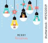 modern christmas card flat ... | Shutterstock .eps vector #492522019