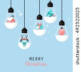 modern christmas card flat ... | Shutterstock .eps vector #492522025