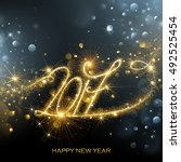 new year fireworks and confetti ... | Shutterstock .eps vector #492525454