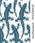 vector lizards wrapping paper ... | Shutterstock .eps vector #492530935