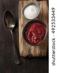 traditional beetroot soup in a...