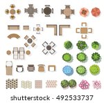 trees top view   furniture ... | Shutterstock .eps vector #492533737