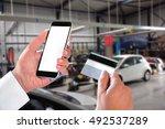 business man hand hold smart...   Shutterstock . vector #492537289