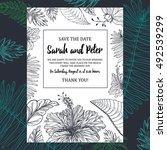 tropical wedding invitation...   Shutterstock .eps vector #492539299