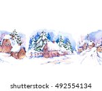 Winter Countryside Watercolor...