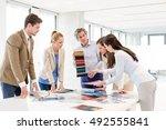 team of design professionals... | Shutterstock . vector #492555841