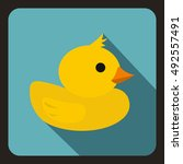 yellow duck toy icon in flat... | Shutterstock .eps vector #492557491