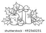 christmas icon. vector hand... | Shutterstock .eps vector #492560251