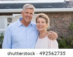 portrait of a happy senior... | Shutterstock . vector #492562735