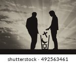 atheism concept. man atheist...   Shutterstock . vector #492563461