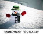 Snow Man Stand Among Pile Of...