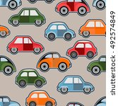 vector colored cars. seamless... | Shutterstock .eps vector #492574849