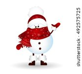 cute  baby  funny snowman with... | Shutterstock .eps vector #492575725