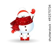 christmas cute  little snowman... | Shutterstock .eps vector #492575734