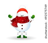 christmas cute  funny  snowman  ... | Shutterstock .eps vector #492575749