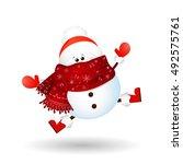cute  funny  snowman  feeling... | Shutterstock .eps vector #492575761