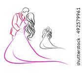 the outline of the bride and...   Shutterstock .eps vector #492579961