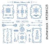 christmas new year decor... | Shutterstock .eps vector #492584125