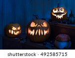 Spooky Carved Pumpkins With...