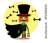 halloween jack o' lantern... | Shutterstock .eps vector #492589645