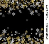 snowfall background with golden ... | Shutterstock .eps vector #492591295