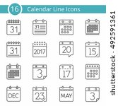 set of 16 calendar line icons ... | Shutterstock .eps vector #492591361
