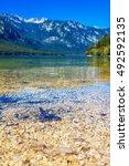 bohinj lake in slovenian... | Shutterstock . vector #492592135