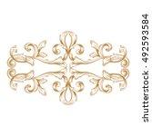 gold vintage baroque element... | Shutterstock .eps vector #492593584