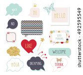 cute speech bubbles with hand... | Shutterstock .eps vector #492595549
