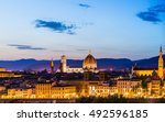 beautiful sunset in florence... | Shutterstock . vector #492596185