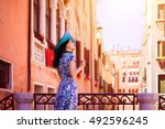 travel to italy. young woman...   Shutterstock . vector #492596245
