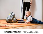 cleaning up the room   woman... | Shutterstock . vector #492608251