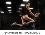 sexy athlete brunette fitness... | Shutterstock . vector #492608479