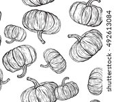 seamless pattern with pumpkins.  | Shutterstock .eps vector #492613084