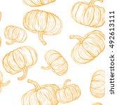 seamless pattern with pumpkins.  | Shutterstock .eps vector #492613111