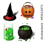 halloween cartoon witch hat set ... | Shutterstock .eps vector #492613471