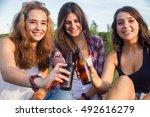 female friends celebrating the...   Shutterstock . vector #492616279