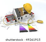 3D rendering of a house in construction, connected to a computer mouse, on top of blueprints, with and energy efficiency rating chart and a safety helmet - stock photo